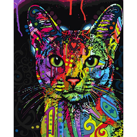 Abstract Colorful Cat Animal DIY Paint by Number Painting on Canvas