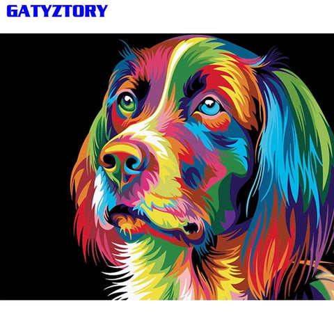 Colorful Abstract Dog Animal DIY Paint By Number on Canvas  16x20in  No Frame
