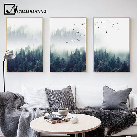 Foggy Forest Landscape Wall Art Canvas Print  Many Sizes to Choose  3 piece set   NO Frame