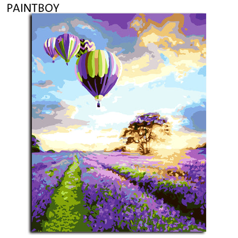 DIY Landscape with Hot Air Balloons Over Wildflowers Painting on Canvas