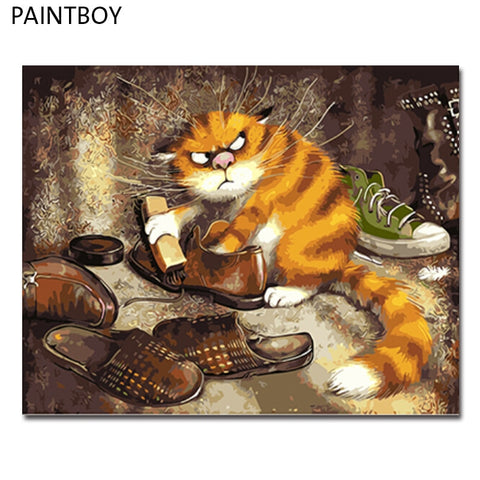 Cat Farm Cat In Shoe Closet Wall Canvas DIY Painting Choose Frame or Frameless   16x20in