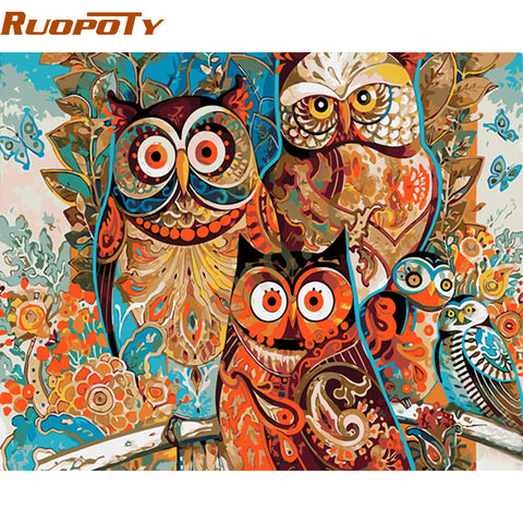 Vintage Owl Caligraphy Multi Color DIY Painting on Canvas   16x20in Choose Frame or No Frame