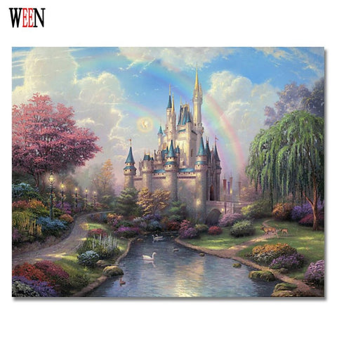 DIY Dream Castle Painting  on Canvas No Frame