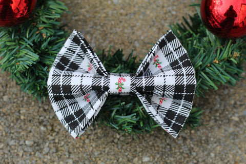 Candy Cane Dog Bow Tie