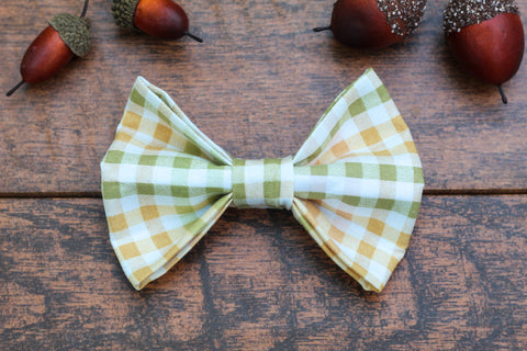 Green and Yellow Plaid Dog Bow Tie