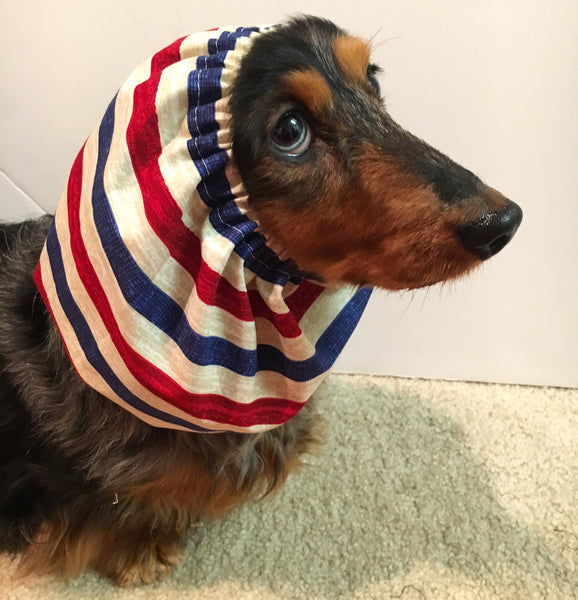Red, Blue, and Tan Striped Snood