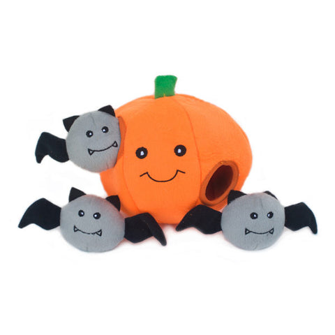 ZippyPaws Halloween Burrow Pumpkin with Bats Dog Toy
