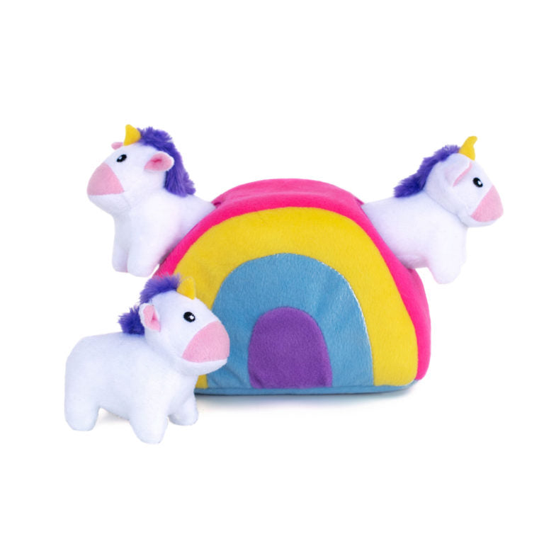 ZippyPaws Burrow Unicorns in Rainbow Dog Toy