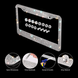 2 luxury crystal metal licence plate frame for front and back metal licence plate trendyoutfiters