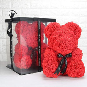 Rose flower bear special for valentine's day similar to coupleschoices.com trendyoutfiters Red 10 inch / 25 cm
