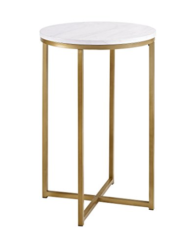 Faux Marble Round Side Table