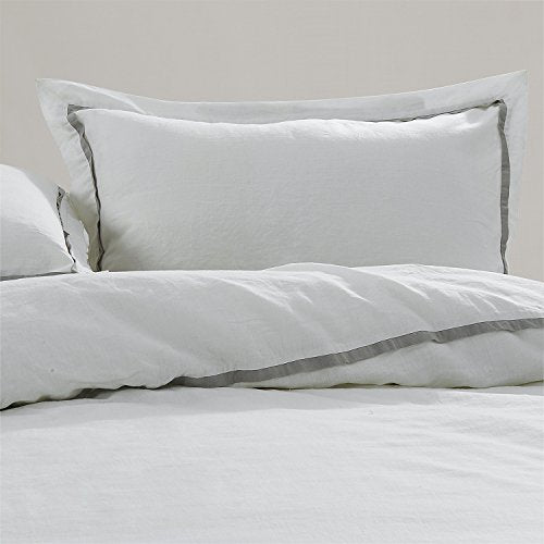 100% Stone Washed Linen Striped Duvet Cover Set