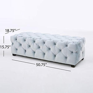 Tufted Fabric Ottoman Bench