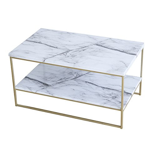 White Marble Print Coffee Table