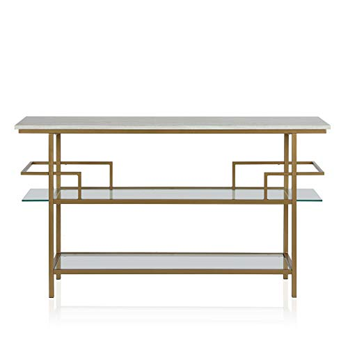 Faux Marble Top Warm Gold Console Table