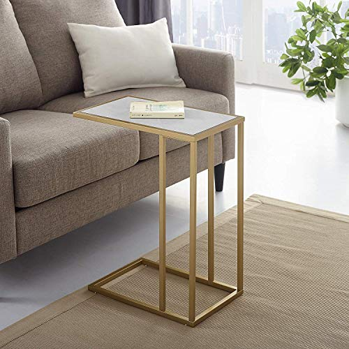 Faux White Marble/Gold Side Table