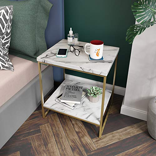 White Marble Print Side Table