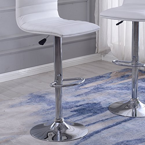 Modern White Faux Leather Barstools