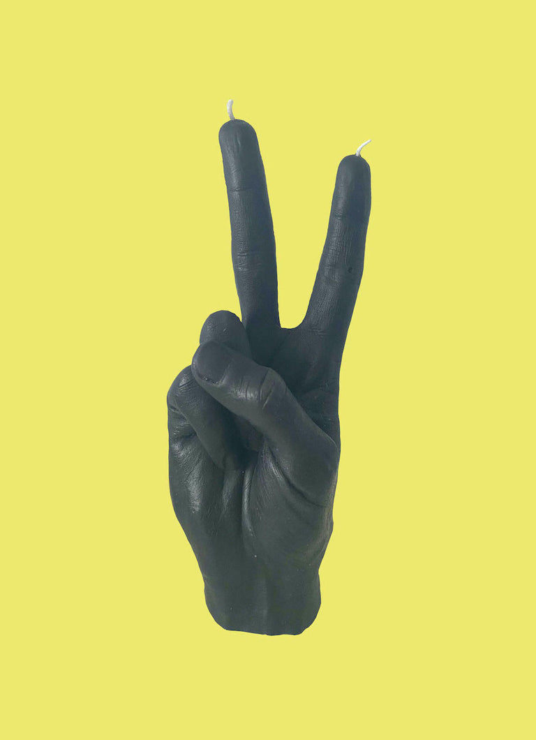 VICTORY Hand Gesture Candle - Black