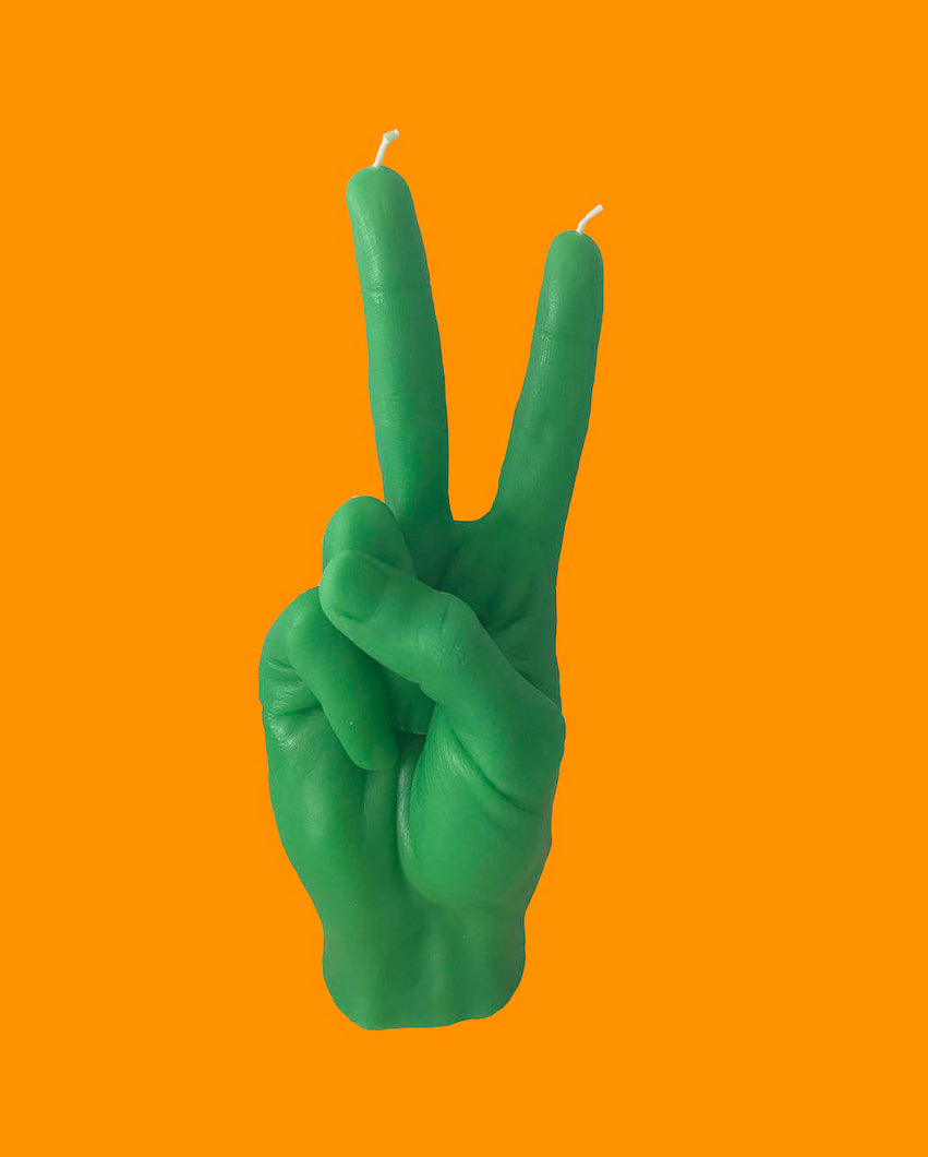 VICTORY Hand Gesture Candle - Green