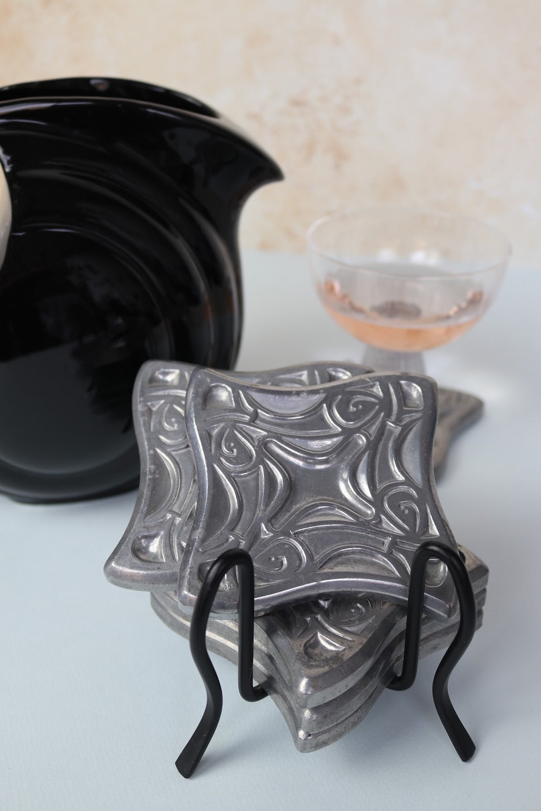 Argent Coaster Set + Holder