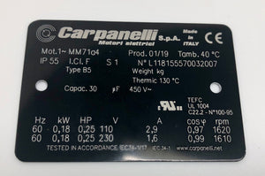 Carpanelli MM71a4 0.18Kw/0.25HP 110/230V 1ph AC Metric Motor or Brakemotor