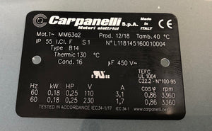 Carpanelli MM63a2 1ph AC Metric Motor or Brakemotor