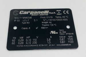 Carpanelli MM63a 0.09Kw/0.12HP 6pole 1ph AC Metric Motor or Brakemotor