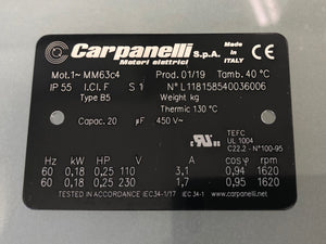 Carpanelli MM63c 0.18Kw/0.25hp 4pole 1ph AC Metric Motor or Brakemotor