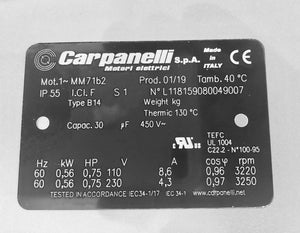 Carpanelli MM71b2 0.56Kw/0.75Hp 2-Pole 1ph AC Metric Motor or Brakemotor