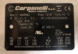 Carpanelli MM80b2 1.1Kw/1.5hP 110/230V/60Hz 1ph AC Metric Motor or Brakemotor