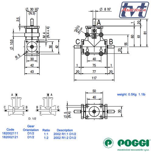 Poggi® Right angle gearbox 2000 Series