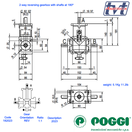 Poggi® Right Angle Reversing gearbox 2023 Series