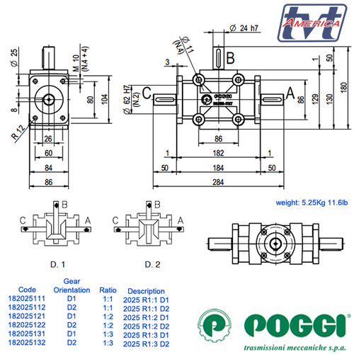 Poggi® Right angle gearbox 2025 Series