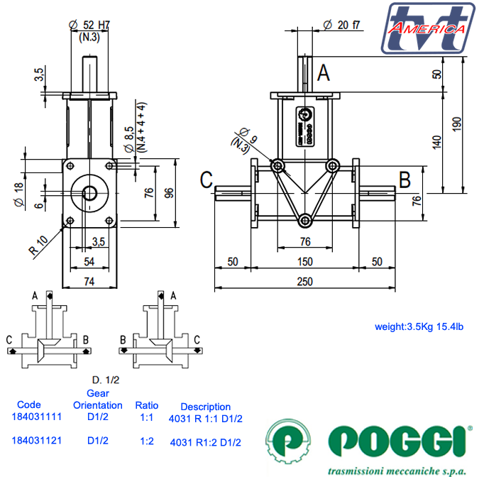 Poggi® Right angle gearbox 4031 Series