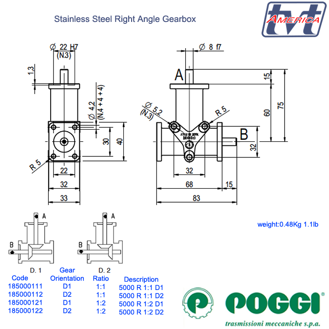 Poggi® Right angle gearbox 5000 Series.