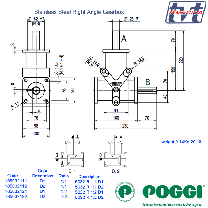 Poggi® Right angle gearbox 5032 Series
