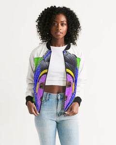 I Don't Care All-Over Print Hoodie Women's Bomber Jacket
