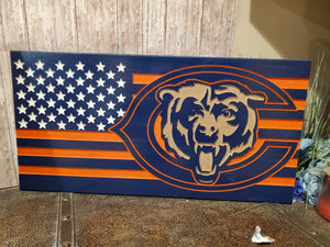 Navy blue and orange bear flag