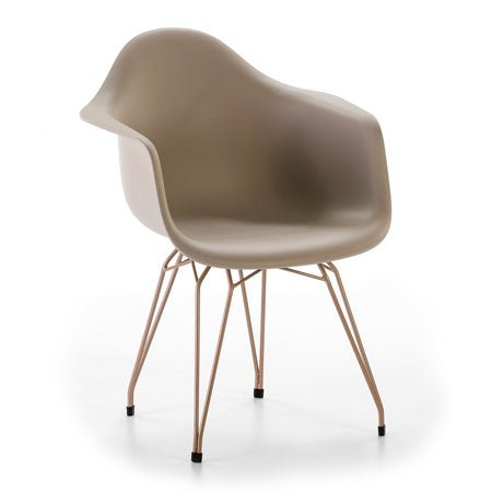 FAUTEUIL 61x62x77 OR MÉTAL / ABS TAUPE