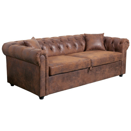 Canapé INSPI Chesterfield 3 Places Convertible Marron