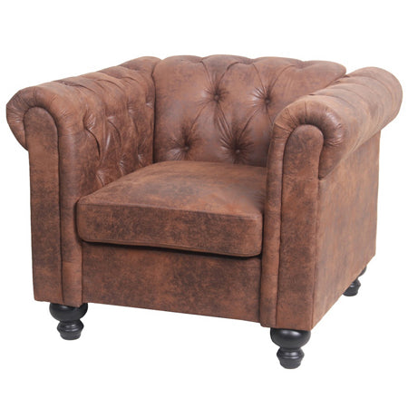 Fauteuil Club INSPI Chesterfield Marron