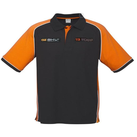 OZ SHUT P10112 MENS NITRO POLO - BLACK / ORANGE