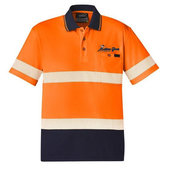 ACTION GLASS ZH535 UNISEX HI VIS SEGMENTED S/S POLO - HOOP TAPED