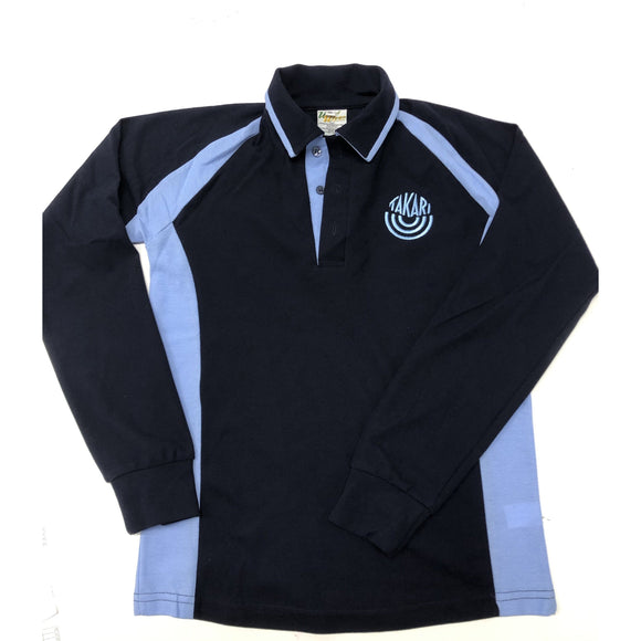 TAKARI LONG SLEEVE POLO NAVY/SKY