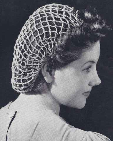 black and white image of woman in the 1940s with a knitted hair net