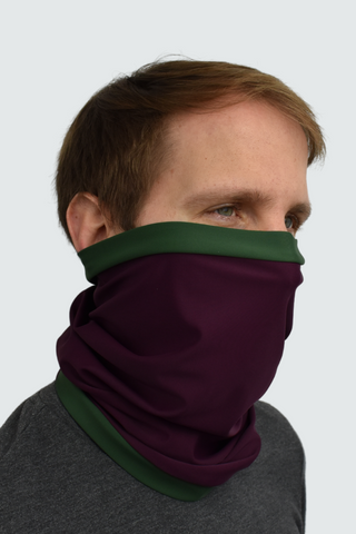 image of man in aubergine and green snood neck warmer