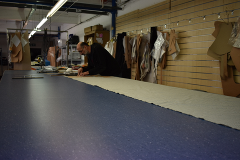 Fabric cutting at our London factory