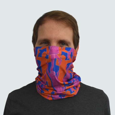 image of man in orange pink and blue printed face covering