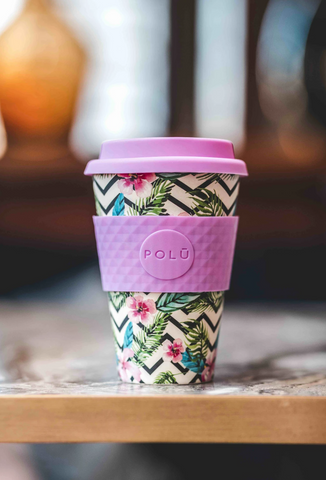 Polu Reusable Coffee Cup in Pink Green Blue Floral Print